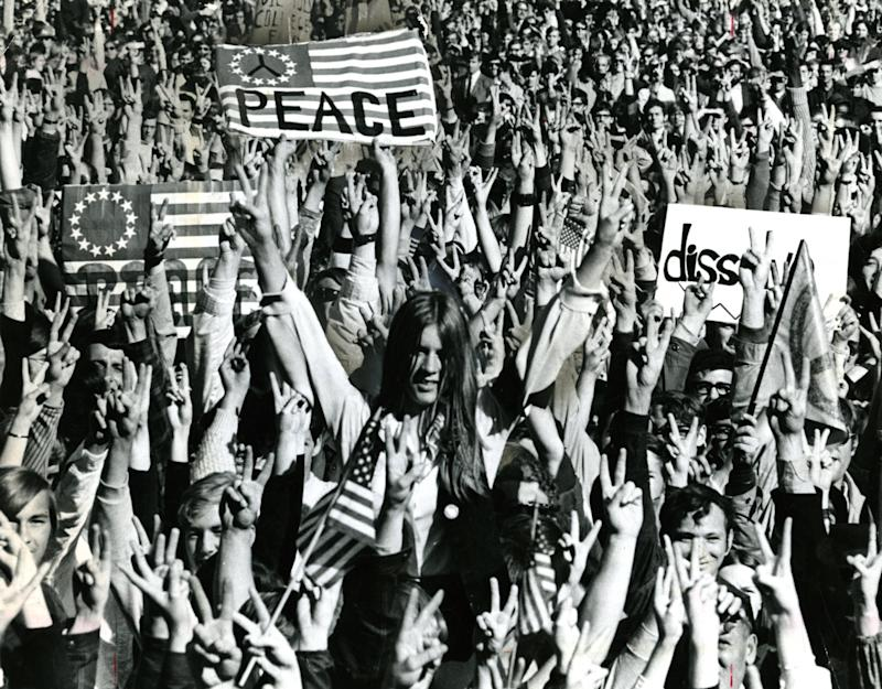 The biggest demonstration in Boston's history happened on Vietnam Moratorium Day as an estimated 100,000 persons shouted in cadence on Boston Common that they wanted the Vietnam War ended