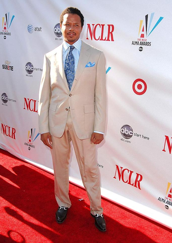 "The ever-dapper Terrence Howards looked summer ready in a cream-colored suit. Steve Granitz/<a href=""http://www.wireimage.com"" target=""new"">WireImage.com</a> - August 17, 2008"