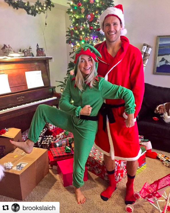 """<p>Speaking of Julianne Hough, she and her fiancé, Brooks Laich, got goofy on Christmas morning. """"I may be Santa's elf now, but I'll be upgrading to Mrs Clause soon!"""" teased the <i>Dancing With the Stars</i> judge. (Photo: <a rel=""""nofollow noopener"""" href=""""https://www.instagram.com/p/BOcwRYZjOcx/"""" target=""""_blank"""" data-ylk=""""slk:Instagram"""" class=""""link rapid-noclick-resp"""">Instagram</a>) </p>"""