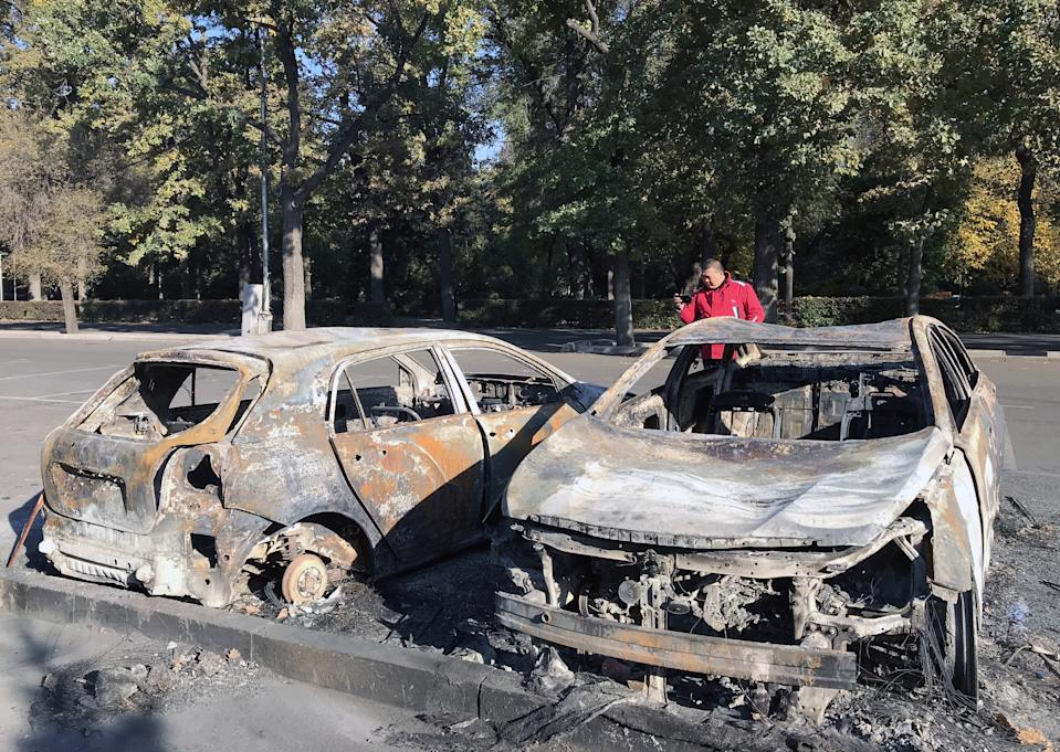 BISHKEK, KYRGYZSTAN - OCTOBER 7, 2020: Cars burnt during mass protests that hit Bishkek on 5 October following the 2020 Kyrgyz parliamentary election. Protesters have seized the parliament building, known as White House, with Kyrgyzstan's Central Election Commission canceling the results of the election. Mikhail Yegikov/TASS (Photo by Mikhail Yegikov\TASS via Getty Images)