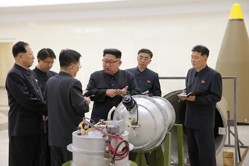 North Korean leader Kim Jong Un provides guidance on a nuclear weapons program in this undated photo released by North Korea's Korean Central News Agency (KCNA) in Pyongyang September 3, 2017.  KCNA via REUTERS    ATTENTION EDITORS - THIS PICTURE WAS PROVIDED BY A THIRD PARTY. REUTERS IS UNABLE TO INDEPENDENTLY VERIFY THE AUTHENTICITY, CONTENT, LOCATION OR DATE OF THIS IMAGE.  NOT FOR SALE FOR MARKETING OR ADVERTISING CAMPAIGNS. NO THIRD PARTY SALES. NOT FOR USE BY REUTERS THIRD PARTY DISTRIBUTORS. SOUTH KOREA OUT. NO COMMERCIAL OR EDITORIAL SALES IN SOUTH KOREA. THIS PICTURE IS DISTRIBUTED EXACTLY AS RECEIVED BY REUTERS, AS A SERVICE TO CLIENTS.