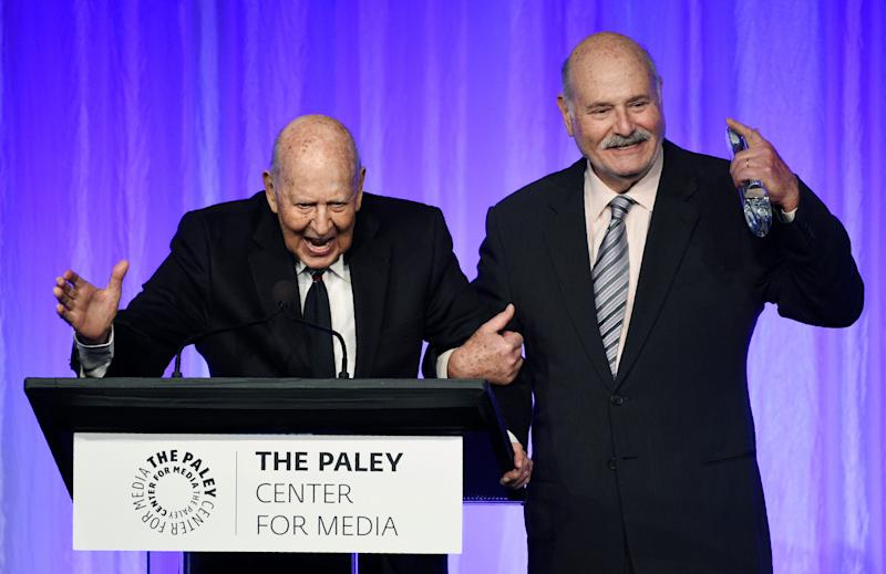 Writer and director Carl Reiner, left, regales the audience at a Paley Honors tribute to comedy legends Thursday. His son, acclaimed director Rob Reiner, introduced his father at the ceremony.