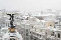 View from the rooftop of the Circulo de Bellas Artes cultural center during a heavy snowfall in Madrid