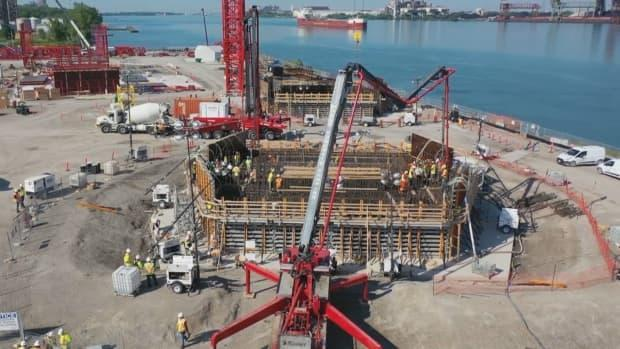 Construction on the Gordie Howe Bridge is seen in a file photo. Bridge officials say an incident of