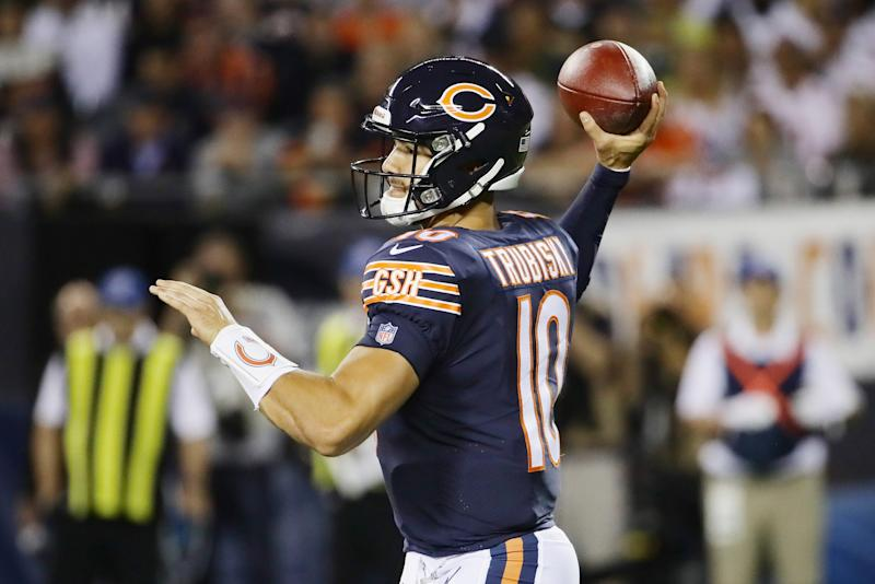 Mitchell Trubisky couldn't get much going in the season opener. (Getty Images)