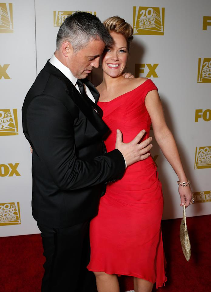 Actor Matt LeBlanc, left, and Andrea Anders attend the Fox Golden Globes Party on Sunday, January 13, 2013, in Beverly Hills, Calif. (Photo by Todd Williamson/Invision for Fox Searchlight/AP Images)