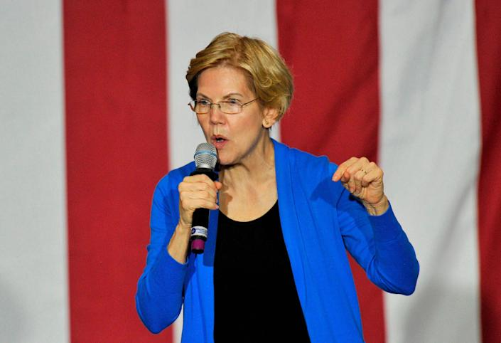 Sen. Elizabeth Warren (D-Mass.) speaks in Exeter, New Hampshire, on Monday. Warren, who is proposing a wealth tax, has drawn a lot of public criticism from billionaires. (Photo: JOSEPH PREZIOSO /Getty Images)