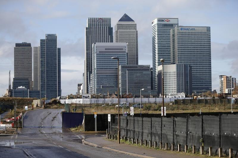 The Canary Wharf financial district is seen in east London