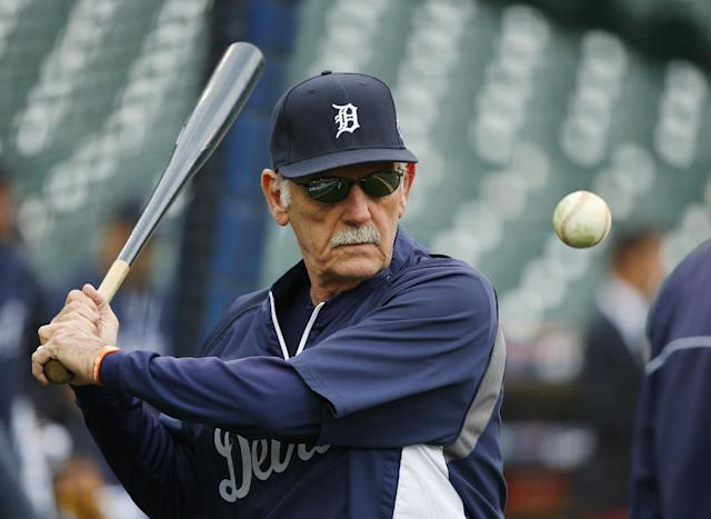 Detroit Tigers manager Jim Leyland hits during fielding practice before Game 3 of the American League baseball championship series against the Boston Red Sox Tuesday, Oct. 15, 2013, in Detroit. (AP Photo/Paul Sancya)