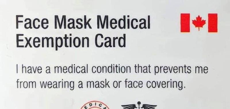 A photo from a Facebook page that is distributing cards that are intended to exempt people from wearing a mask as per provincial and municipal bylaws while indoors. (Facebook)