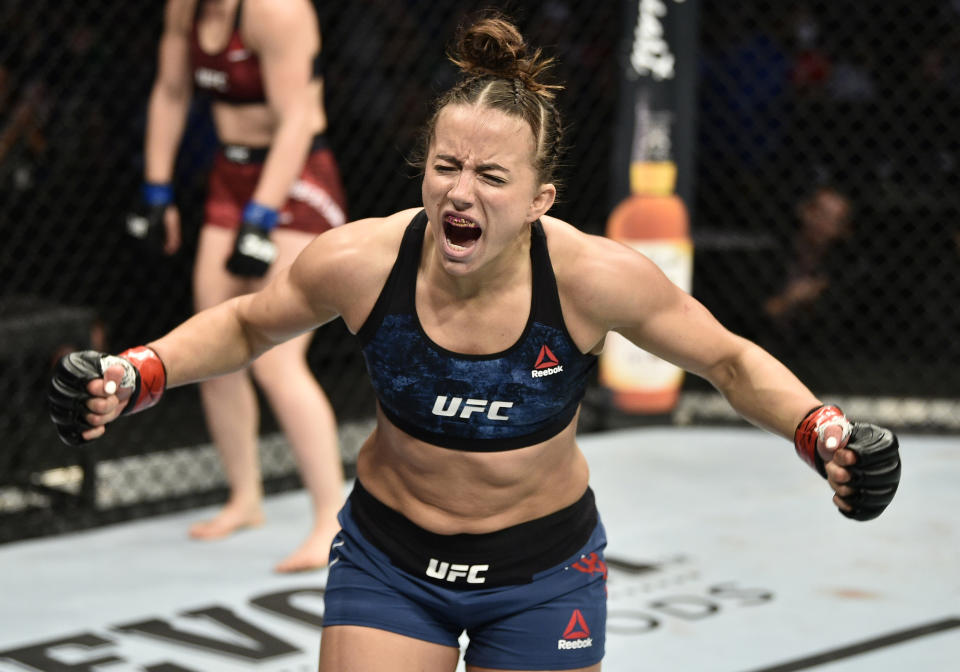 BOSTON, MASSACHUSETTS - OCTOBER 18:  Maycee Barber celebrates after her TKO victory over Gillian Robertson in their flyweight bout during the UFC Fight Night event at TD Garden on October 18, 2019 in Boston, Massachusetts. (Photo by Chris Unger/Zuffa LLC via Getty Images)