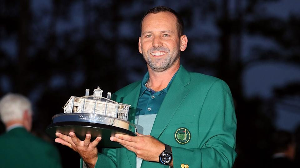 Sergio Garcia is seen here holding his 2017 Masters trophy.