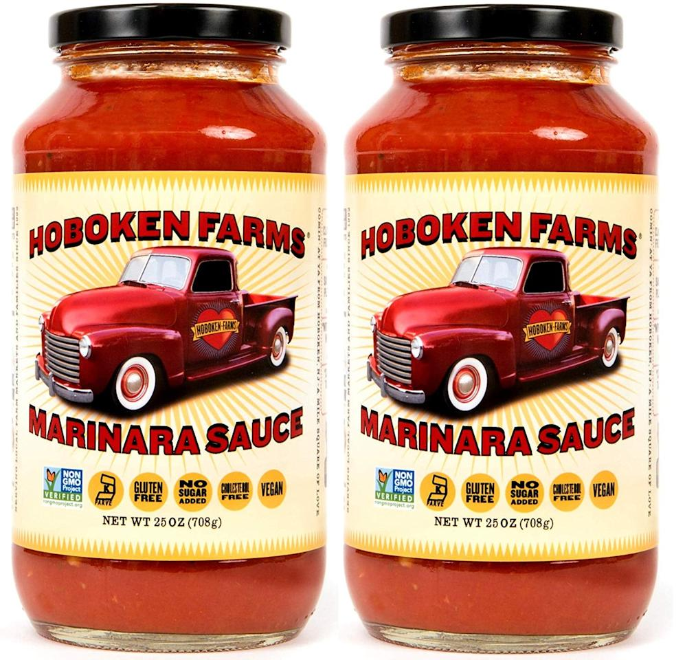 "<p>All we can say about this <a href=""https://www.popsugar.com/buy/Hoboken%20Farms%20Marinara%20Gourmet%20Pasta%20Sauce-471020?p_name=Hoboken%20Farms%20Marinara%20Gourmet%20Pasta%20Sauce&retailer=amazon.com&price=19&evar1=fit%3Aus&evar9=46407756&evar98=https%3A%2F%2Fwww.popsugar.com%2Ffitness%2Fphoto-gallery%2F46407756%2Fimage%2F46407760%2FHoboken-Farms-Marinara-Gourmet-Pasta-Sauce&list1=shopping%2Camazon%2Cpasta%2Csauces%2Clow-carb&prop13=api&pdata=1"" rel=""nofollow"" data-shoppable-link=""1"" target=""_blank"" class=""ga-track"" data-ga-category=""Related"" data-ga-label=""https://www.amazon.com/Hoboken-Farms-Marinara-Gourmet-Pasta/dp/B07MVN9D33/ref=sr_1_7?keywords=low-carb%2Bpasta%2Bsauce&amp;qid=1563828519&amp;s=gateway&amp;sr=8-7&amp;th=1"" data-ga-action=""In-Line Links"">Hoboken Farms Marinara Gourmet Pasta Sauce</a> ($19 for 2) is yum. It has six grams of carbs per serving.</p>"