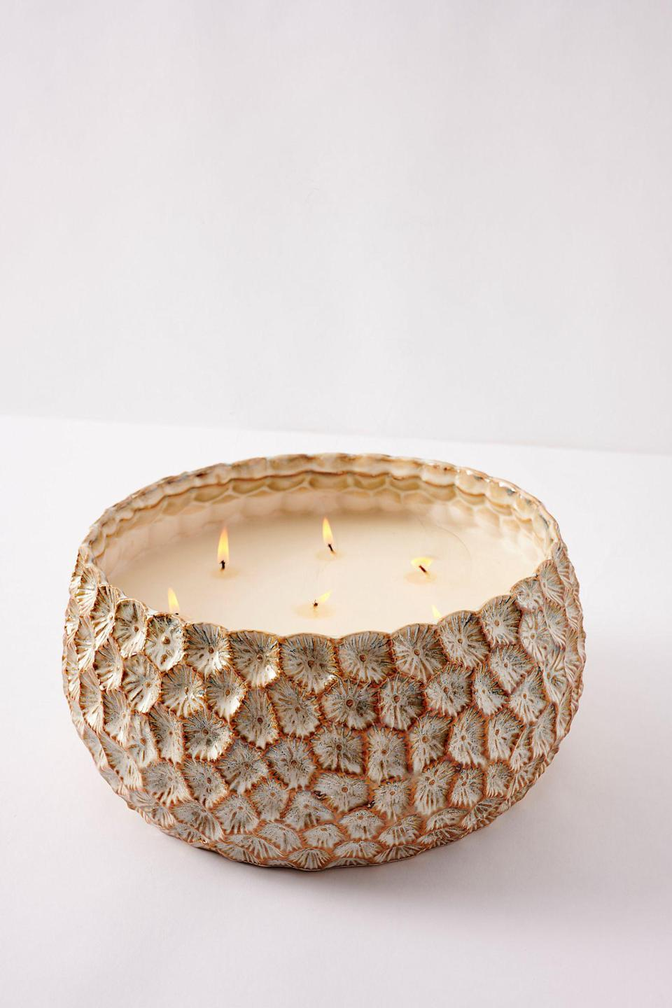 """<br><br><strong>Anthropologie</strong> Honeycomb Textured Glass Candle, $, available at <a href=""""https://go.skimresources.com/?id=30283X879131&url=https%3A%2F%2Fwww.anthropologie.com%2Fshop%2Fhoneycomb-textured-glass-candle"""" rel=""""nofollow noopener"""" target=""""_blank"""" data-ylk=""""slk:Anthropologie"""" class=""""link rapid-noclick-resp"""">Anthropologie</a>"""