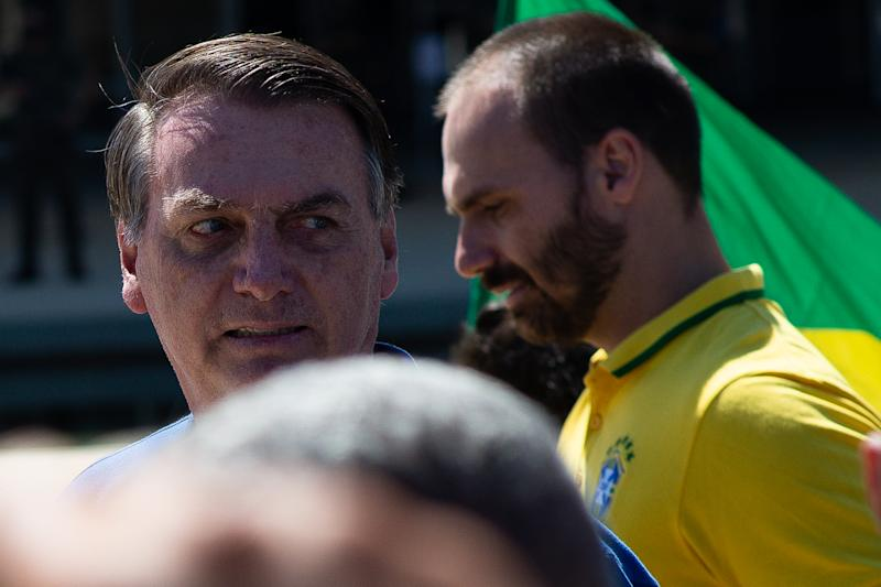 BRASILIA, BRAZIL - MAY 03: Brazilian President Jair Bolsonaro participates in a protest against the National Congress and the Supreme Court amidst on the coronavirus (COVID-19) pandemic at the Planalto Palace on May 03, 2020 in Brasilia. Brazil has over 96,000 confirmed positive cases of coronavirus and 6,750 deaths. (Photo by Andressa Anholete/Getty Images)