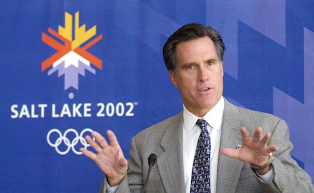 Mitt Romney, president of the Salt Lake Organizing Committee, announces there are 70,000 additional tickets available for purchase for the 2002 Winter Games during a news conference Monday, Oct. 1, 2001, in Salt Lake City. (AP Photo/Douglas C. Pizac)