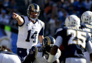 St. Louis Rams quarterback Shaun Hill yells to his team during the first half of an NFL football game against the San Diego Chargers Sunday, Nov. 23, 2014, in San Diego. (AP Photo/Lenny Ignelzi)
