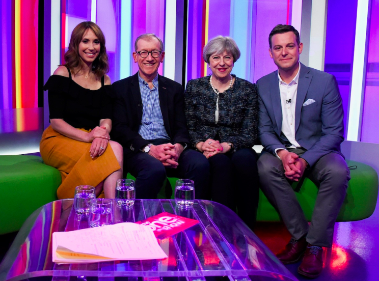 The Prime Minister was joined on The One Show by her husband Philip (PA/BBC)