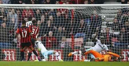 Britain Football Soccer - AFC Bournemouth v West Ham United - Premier League - Vitality Stadium - 11/3/17 Bournemouth's Joshua King scores their third goal to complete his hat trick  Action Images via Reuters / Peter Cziborra Livepic