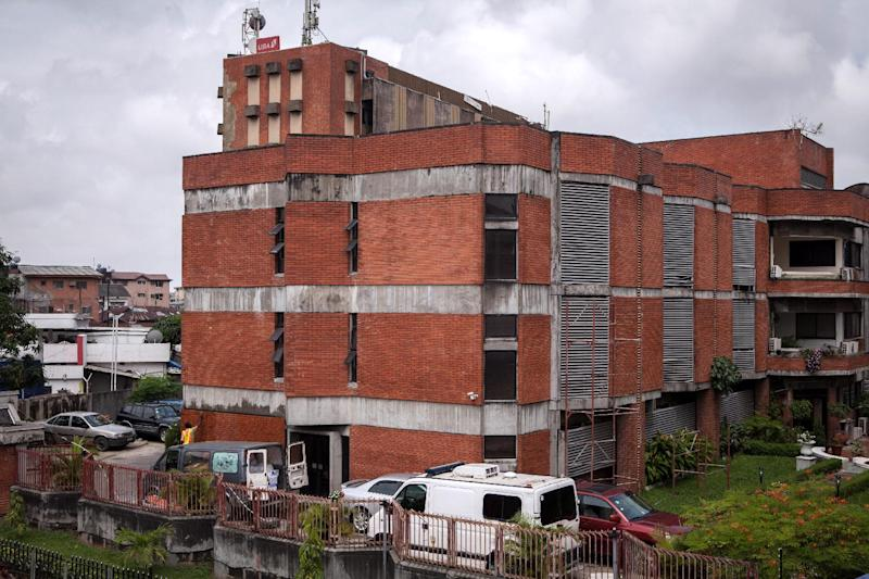 A photo taken on July 24, 2014 shows a medical center in Lagos, Nigeria, where allegedly a 40-year-old Liberian man died from the Ebola disease