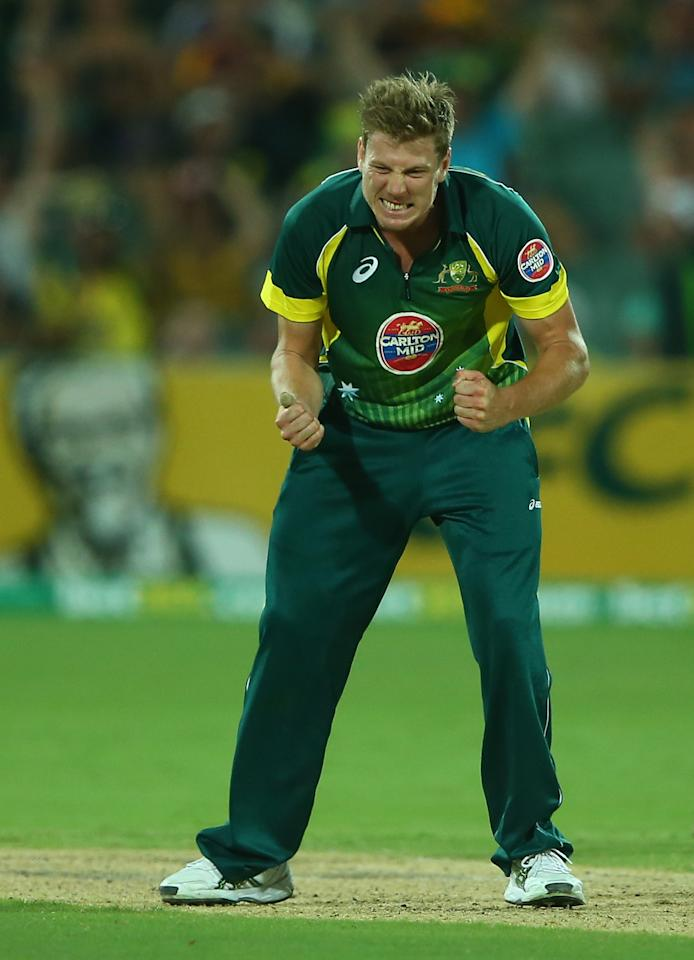 ADELAIDE, AUSTRALIA - JANUARY 26:  James Faulkner of Australia celebrates after taking the wicket of Joe Root of England during game five of the One Day International Series between Australia and England at Adelaide Oval on January 26, 2014 in Adelaide, Australia.  (Photo by Robert Cianflone/Getty Images)