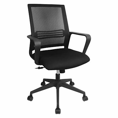 black desk chair with mesh back