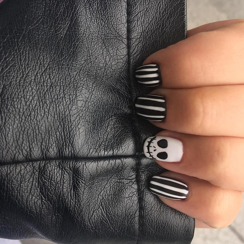 It's not a Halloween nails gallery without at least one reference to Beetlejuice or Jack.