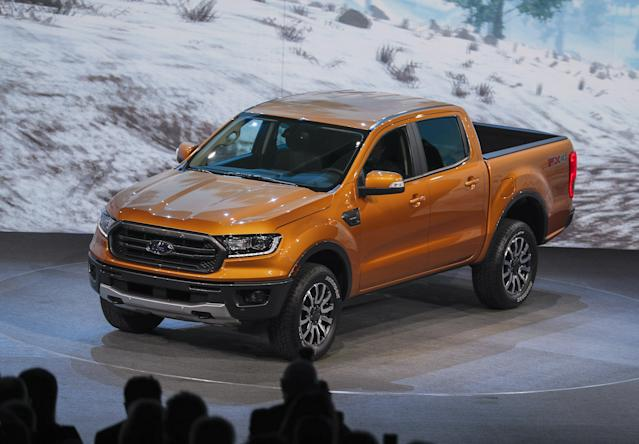 The 2019 Ford Ranger pickup truck is introduced during the media preview at the 2018 North American International Auto Show in Detroit, Michigan, USA, 14 January 2018. (Abierto, Estados Unidos) EFE/EPA/ERIK S. LESSER