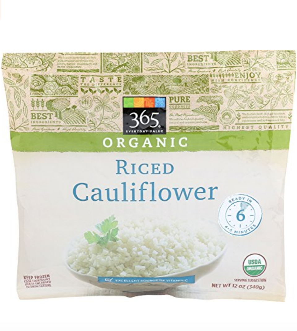 """<p><a class=""""link rapid-noclick-resp"""" href=""""https://www.amazon.com/365-Everyday-Value-Organic-Cauliflower/dp/B074H5HHCS/ref=sr_1_4_0g_wf?almBrandId=VUZHIFdob2xlIEZvb2Rz&dchild=1&fpw=alm&keywords=365+Riced+Cauliflower&qid=1594335605&s=grocery&sr=1-4&tag=syn-yahoo-20&ascsubtag=%5Bartid%7C10049.g.36302562%5Bsrc%7Cyahoo-us"""" rel=""""nofollow noopener"""" target=""""_blank"""" data-ylk=""""slk:BUY NOW"""">BUY NOW</a></p><p> Frozen bags of riced cauliflower take out the heavy lifting when you want to whip up a carb-free dinner.</p>"""