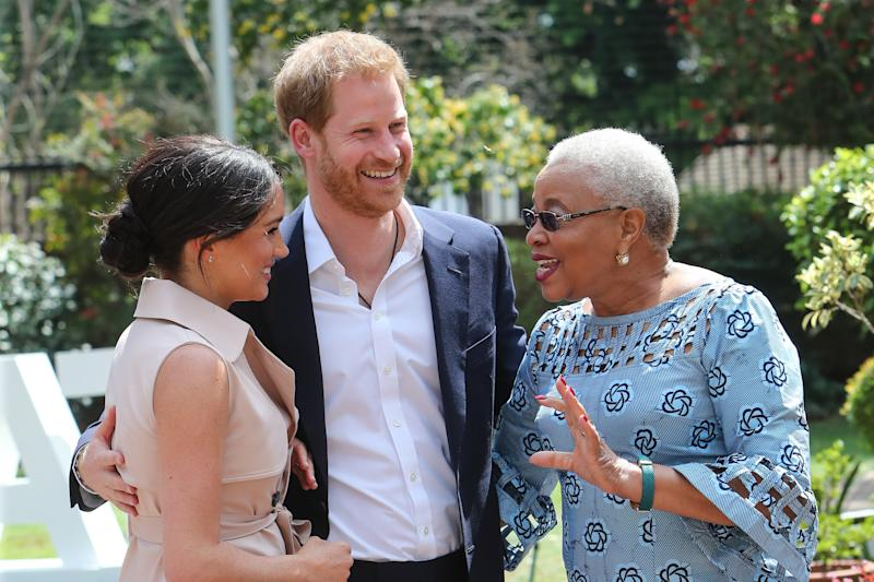 JOHANNESBURG, SOUTH AFRICA - OCTOBER 02: (UK OUT FOR 28 DAYS) Prince Harry, Duke of Sussex and Meghan, Duchess of Sussex meet Graca Machel, widow of the late Nelson Mandela on October 02, 2019 in Johannesburg, South Africa. The Duke last met with Mrs Machel during his visit to South Africa in 2015. (Photo by Pool/Samir Hussein/WireImage)