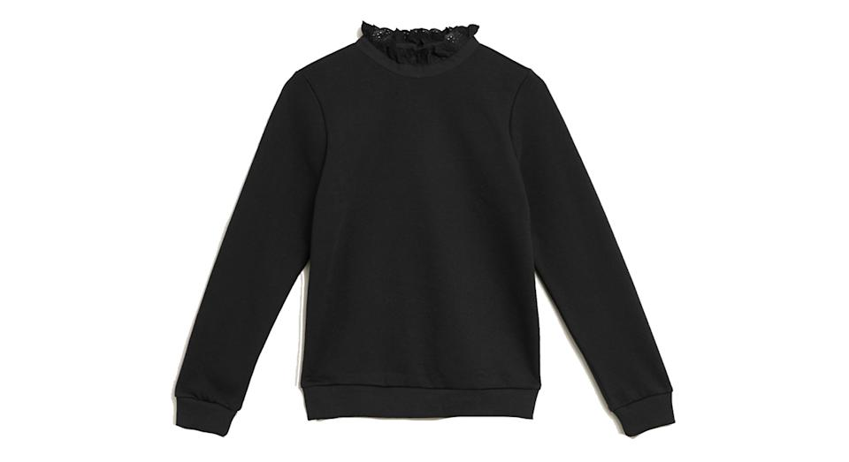 Cotton Crew Neck Frill Detail Sweatshirt