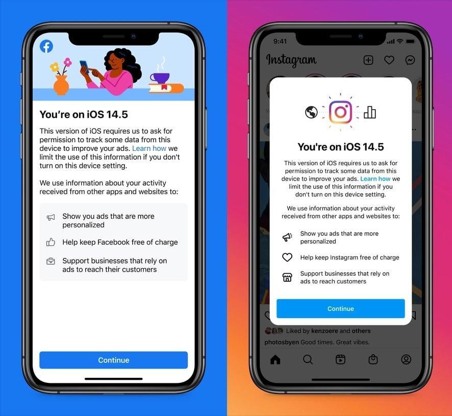Avisos de Facebook e Instagram no iOS 14