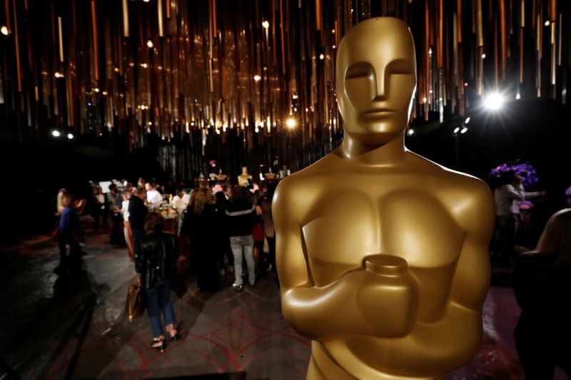 An Oscar statue is pictured during a media preview of this year's Academy's Governors Ball in Los Angeles