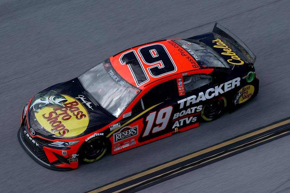 TALLADEGA, ALABAMA - APRIL 25: Martin Truex Jr., driver of the #19 Bass Pro Toyota, drives during the NASCAR Cup Series  GEICO 500 at Talladega Superspeedway on April 25, 2021 in Talladega, Alabama. (Photo by Sean Gardner/Getty Images)