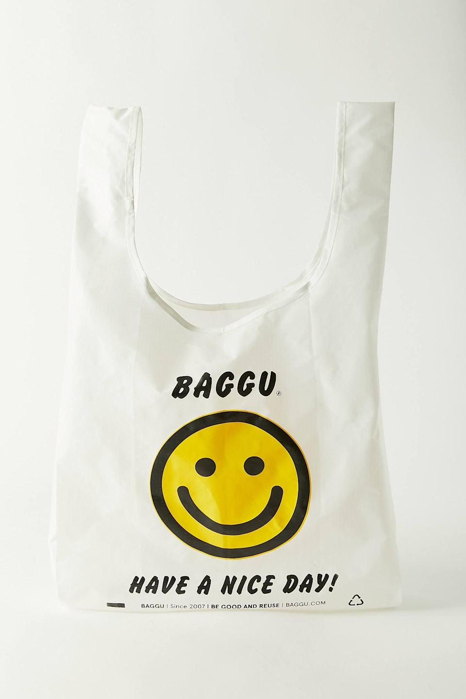 """<h2>Baggu Reusable Tote</h2><br>Baggu bags aren't just cute and cheap, they're a major sustainable staple when it comes to minimizing single-use plastic bags. For just 12 buckeroos, you can score all different styles of patterns, colors, and designs galore – and use them to tote everything from groceries to lunch to night-out-on-the-town accessories. <br><br><em>Shop</em><strong><em> <a href=""""https://baggu.com/collections/reusable-bags"""" rel=""""nofollow noopener"""" target=""""_blank"""" data-ylk=""""slk:Baggu"""" class=""""link rapid-noclick-resp"""">Baggu</a> </em></strong><br><br><br><strong>Baggu</strong> Standard Reusable Tote Bag, $, available at <a href=""""https://go.skimresources.com/?id=30283X879131&url=https%3A%2F%2Fwww.urbanoutfitters.com%2Fshop%2Fbaggu-standard-reusable-tote-bag"""" rel=""""nofollow noopener"""" target=""""_blank"""" data-ylk=""""slk:Urban Outfitters"""" class=""""link rapid-noclick-resp"""">Urban Outfitters</a>"""
