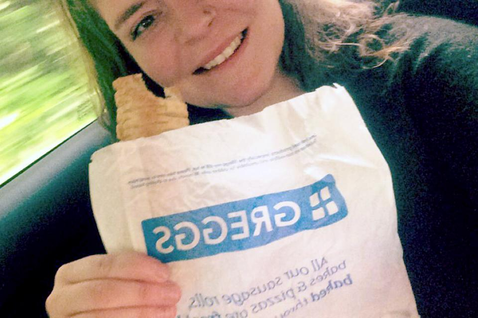 Mairead Sheehan has vowed to visit every one of Greggs' 1,764 stores. (Caters)