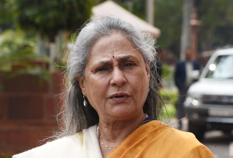 NEW DELHI, INDIA - MARCH 5: Rajya Sabha MP Jaya Bachchan leaves after attending Budget Session at Parliament House, in New Delhi, India on Thursday, March 05, 2020. (Photo by Sonu Mehta/Hindustan Times via Getty Images)