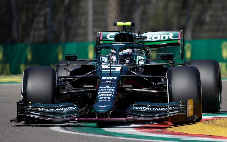 Aston Martin driver Sebastian Vettel of Germany steers his car during free practice for Sunday's Emilia Romagna Formula One Grand Prix, at the Imola track, Italy, Friday, April 16, 2021 - Luca Bruno/Italy Emilia Romagna F1 GP Auto Racing