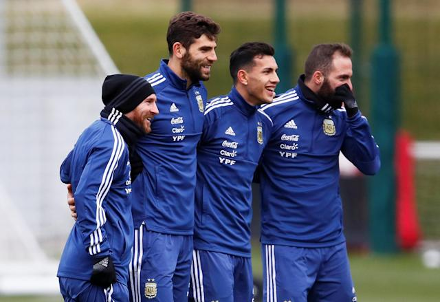 Soccer Football - Argentina Training - City Football Academy, Manchester, Britain - March 21, 2018 Argentina's Lionel Messi, Federico Fazio, Leandro Paredes and Gonzalo Higuain during training Action Images via Reuters/Jason Cairnduff