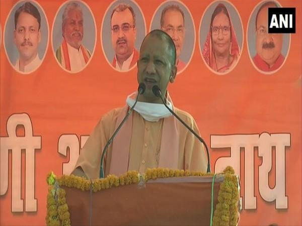 Uttar Pradesh Chief Minister Yogi Adityanath speaking at an election rally in Bihar on Monday. Photo/ANI