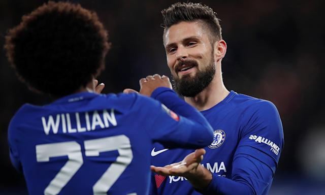 Goalscorers Willian and Olivier Giroud celebrate.