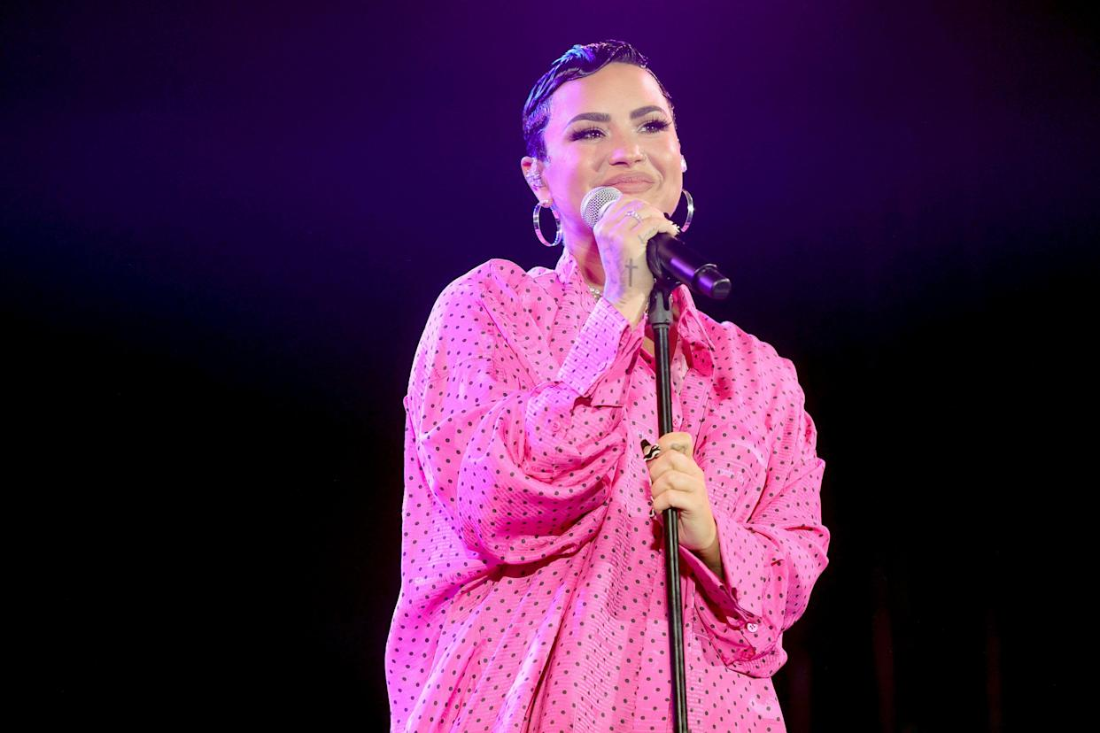 Demi Lovato says complimenting someone's weight loss can be triggering. (Photo: Rich Fury/Getty Images for OBB Media)