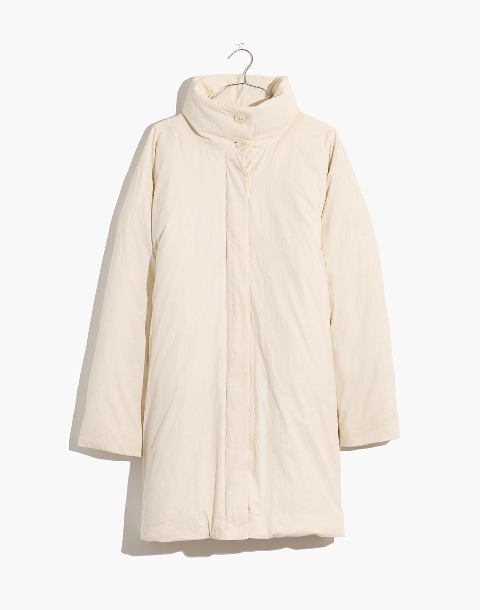"""<p><strong>Madewell x Buffy </strong></p><p>madewell.com</p><p><strong>$258.00</strong></p><p><a href=""""https://go.redirectingat.com?id=74968X1596630&url=https%3A%2F%2Fwww.madewell.com%2Fmadewell-x-buffyreg%253B-puffer-coat-MB869.html&sref=https%3A%2F%2Fwww.housebeautiful.com%2Fshopping%2Fg34740888%2Fmadewell-buffy-cozy-wearable-collection%2F"""" rel=""""nofollow noopener"""" target=""""_blank"""" data-ylk=""""slk:BUY NOW"""" class=""""link rapid-noclick-resp"""">BUY NOW</a></p><p>Walk around with your </p>"""