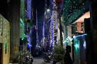 Houses are illuminated with garland lights for Diwali in New Delhi
