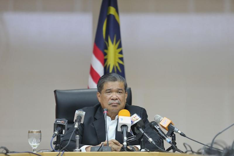 Defence Minister Mohamad Sabu speaks to reporters during a press conference in Kuala Lumpur April 19, 2019. — Picture by Ahmad Zamzahuri
