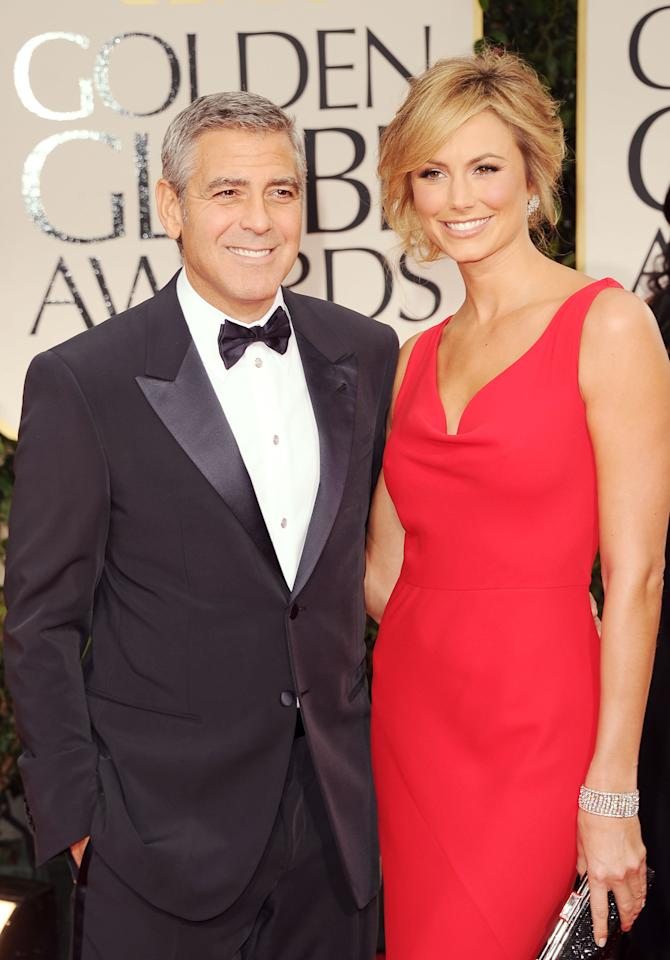 BEVERLY HILLS, CA - JANUARY 15:  Actors George Clooney and Stacy Keibler arrives at the 69th Annual Golden Globe Awards held at the Beverly Hilton Hotel on January 15, 2012 in Beverly Hills, California.  (Photo by Jason Merritt/Getty Images)