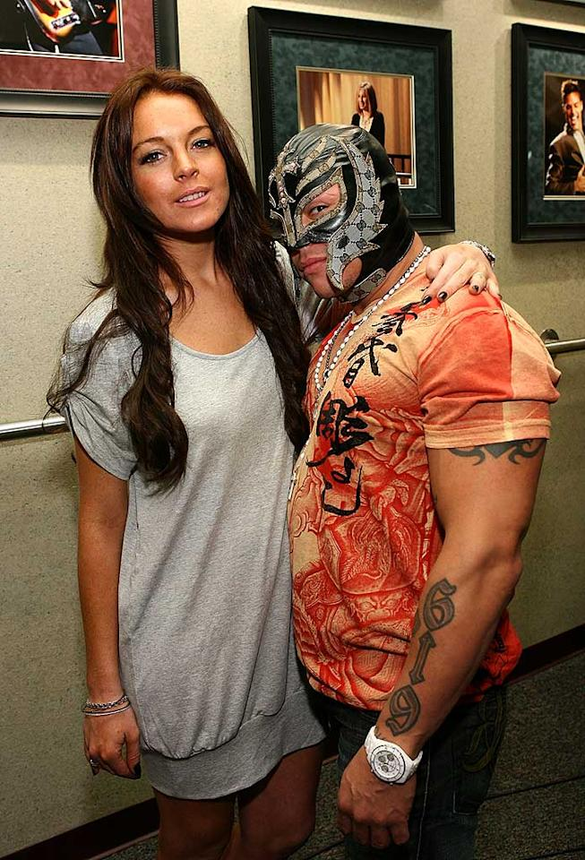 """It looks like our favorite """"Mean Girl"""" could body slam the diminutive eight-time Cruiserweight Champion Rey Mysterio, an aerialist known for his tilt-a-whirl headscissors takedown. Jesse Grant/<a href=""""http://www.wireimage.com"""" target=""""new"""">WireImage.com</a> - February 18, 2008"""