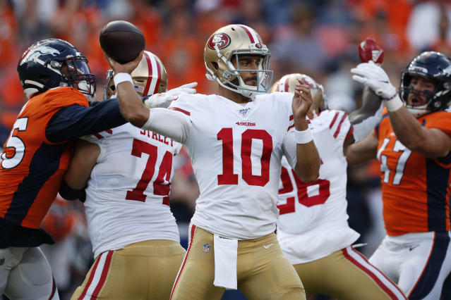 San Francisco 49ers quarterback Jimmy Garoppolo didn't play well against Denver. (AP)