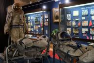 Cosmonaut suits on display with other exhibits at the Space Museum in Star City near Moscow