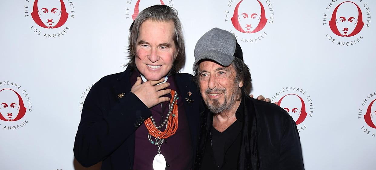 LOS ANGELES, CALIFORNIA - OCTOBER 28: Val Kilmer (L) and Al Pacino attend the Simply Shakespeare's Live Read of
